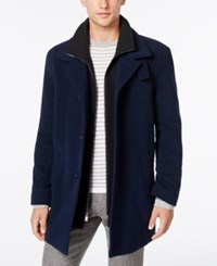 Calvin Klein Coleman Wool Blend Overcoat Royal Blue