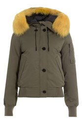 Kenzo Down Jacket With Fur Trimmed Hood Green
