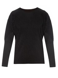 Homme Plisse Pleated Long Sleeved Top Black