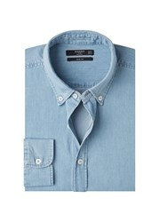 Mango Slim Fit Chambray Shirt Blue