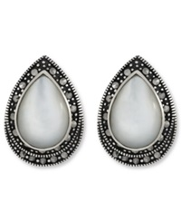 Genevieve And Grace Sterilng Silver Earrings Marcasite And Mother Of Pearl Clip On Earrings