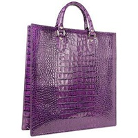 L.A.P.A. Violet Croco Large Tote Leather Handbag W Pouch Purple