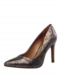 Carrano Merry Ii Snake Embossed Leather Pump Black Silver