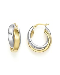 Bloomingdale's 14K Yellow And White Gold Bold Dual Hoop Earrings Gold White