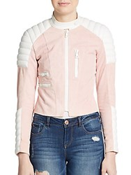 Acne Studios Minda Colorblock Leather Jacket Pink