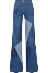 Stella Mccartney Patchwork High Rise Flared Jeans Mid Denim