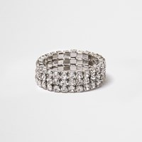 River Island Womens White Crystal Stretch Ring