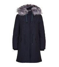 Claudie Pierlot Granite Faux Fur Trim Coat Female Navy