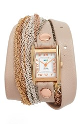 La Mer Women's Collections Leather And Chain Wrap Bracelet Watch 28Mm Beige Rose Gold