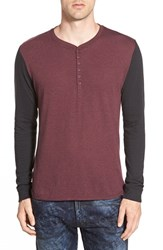 Men's The Rail Long Sleeve Two Tone Jersey Henley Burgundy Stem