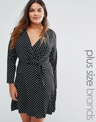 Yumi Plus Wrap Dress In Polka Dot Print Black