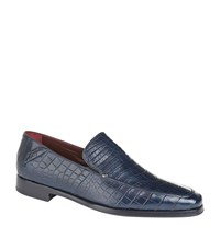 Zilli Crocodile Loafers Male Navy