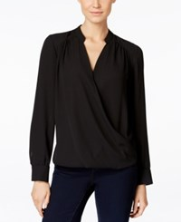 Inc International Concepts Long Sleeve Surplice Blouse Only At Macy's Deep Black