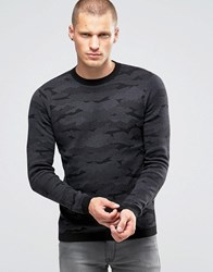 Jack And Jones Knitted Camo Jumper Black