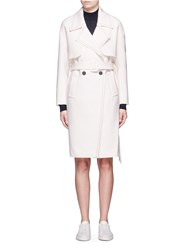 Comme Moi Frayed Wool Blend Belted Trench Coat White