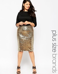 Club L Plus Size Bodycon Dress With Sequin Skirt Blackgold