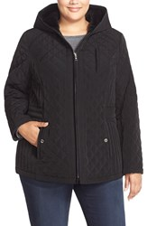 Laundry By Design Corduroy Trim Hooded Quilted Coat Plus Size Black