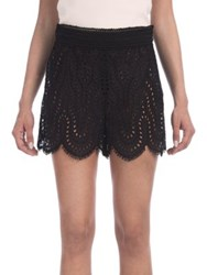 Valentino Scalloped Eyelet Lace Shorts Black