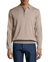 Neiman Marcus Wool Long Sleeve Polo Shirt Cobbleston