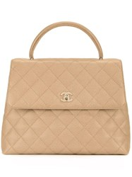 Chanel Vintage Cc Quilted Hand Bag Brown