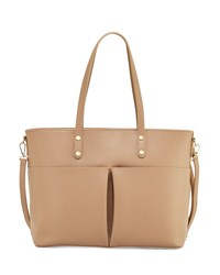 Neiman Marcus Leather Large Pocket Tote Bag Taupe