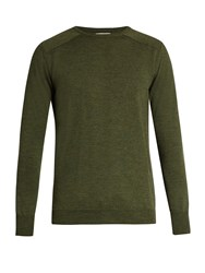 Oliver Spencer Blade Crew Neck Wool Sweater Green