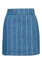 Topshop Moto Stripe A Line Skirt Navy Blue