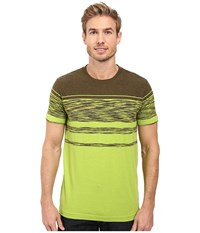 Prana Throttle Crew Macaw Stripe Men's Short Sleeve Knit Green