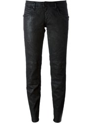 Diesel Black Gold Wax Effect Biker Trousers