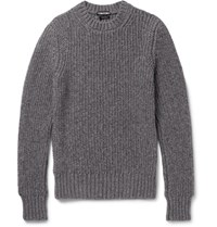 Tom Ford Slim Fit Ribbed Melange Cashmere And Wool Blend Sweater Gray
