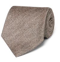 Kingsman Drake's Herringbone Silk And Linen Blend Tie Brown