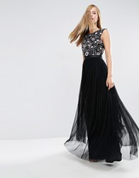 Needle And Thread Floral Ombre Maxi Dress Black