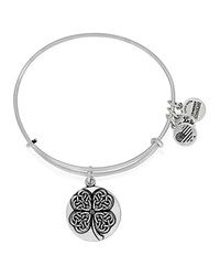 Alex And Ani Four Leaf Clover Iii Expandable Wire Bangle Rafaelian Silver