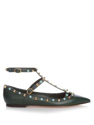Valentino Rolling Rockstud Leather Flats Dark Green