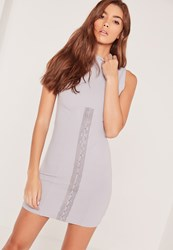 Missguided Sleeveless Corset Front Bodycon Dress Grey Grey