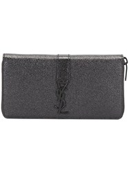Saint Laurent 'Ysl' Zip Around Wallet Black