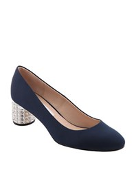 Nina Barbe Crystal Inlaid Heel Pumps Navy Blue