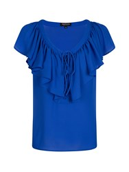 Morgan Ruffle Front Fitted Top Blue