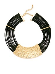 Saks Fifth Avenue 14K Gold Plated Iron Zinc And Leather Necklace Gold Black