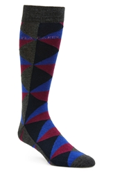 Ted Baker Geometric Socks 3 For 38 Charcoal