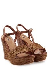 Ugg Australia Braided Leather Fitchie Platform Wedges Brown
