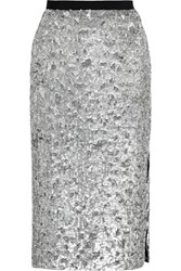Burberry Sequined Tulle Pencil Skirt Metallic