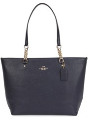 Coach Sophia Midnight Blue Leather Tote Navy