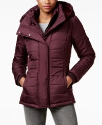 Rampage Hooded Quilted Puffer Coat Only At Macy's Eggplant