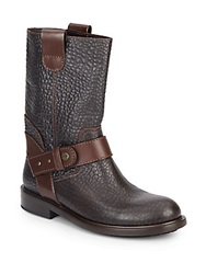 Jimmy Choo Pebble Grain Leather Moto Boots