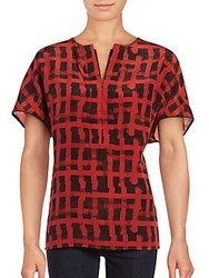 Lafayette 148 New York Lula Graphic Silk Blouse Red