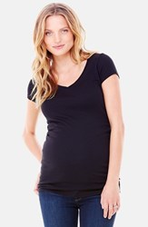 Women's Ingrid And Isabel V Neck Short Sleeve Maternity Tee Jet Black