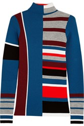 Kenzo Striped Wool Turtleneck Sweater Blue