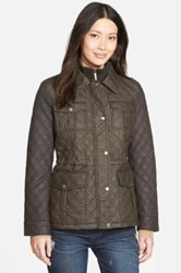 Michael Michael Kors Quilted Field Jacket With Bib Inset Black