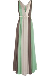 Halston Heritage Striped Crinkled Chiffon Gown Light Green